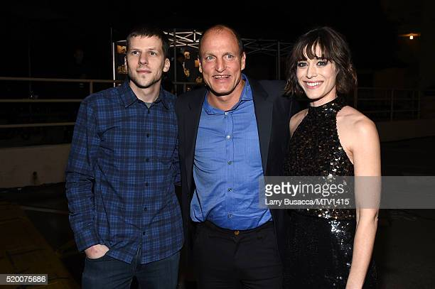 Actors Jesse Eisenberg Woody Harrelson and Lizzy Caplan attend the 2016 MTV Movie Awards at Warner Bros Studios on April 9 2016 in Burbank California...