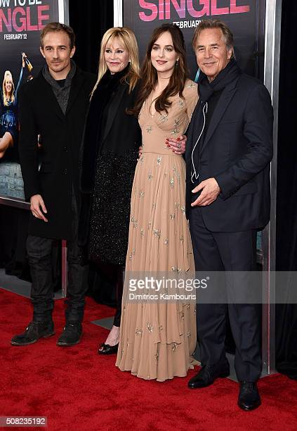 Actors Jesse Johnson Melanie Griffith Dakota Johnson and Don Johnson attend the New York premiere of 'How To Be Single' at the NYU Skirball Center on...
