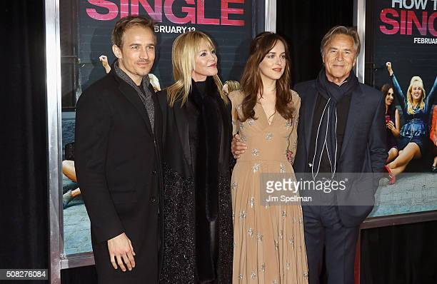 Actors Jesse Johnson Melanie Griffith Dakota Johnson and Don Johnson attend the 'How To Be Single' New York premiere at NYU Skirball Center on...