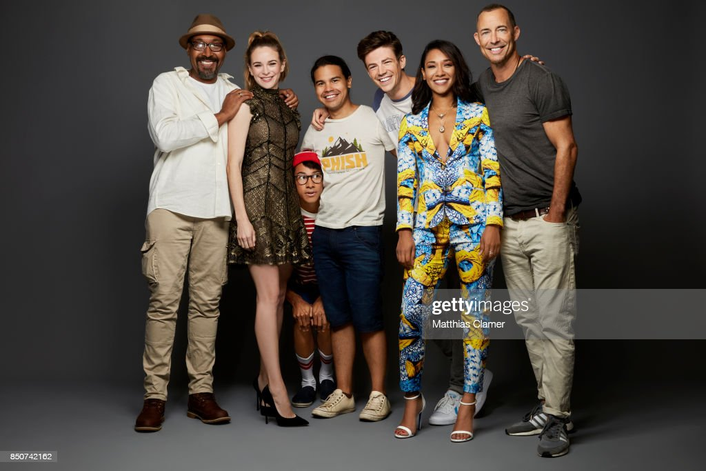 Actors Jesse L. Martin, Danielle Panabaker, Keiynan Lonsdale, Carlos Valdes, Grant Gustin, Candice Patton and Tom Cavanagh from The Flash are photographed for Entertainment Weekly Magazine on July 22, 2017 at Comic Con in San Diego, California. PUBLISHED
