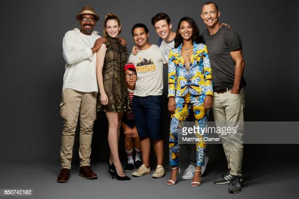 Actors Jesse L Martin Danielle Panabaker Keiynan Lonsdale Carlos Valdes Grant Gustin Candice Patton and Tom Cavanagh from The Flash are photographed...
