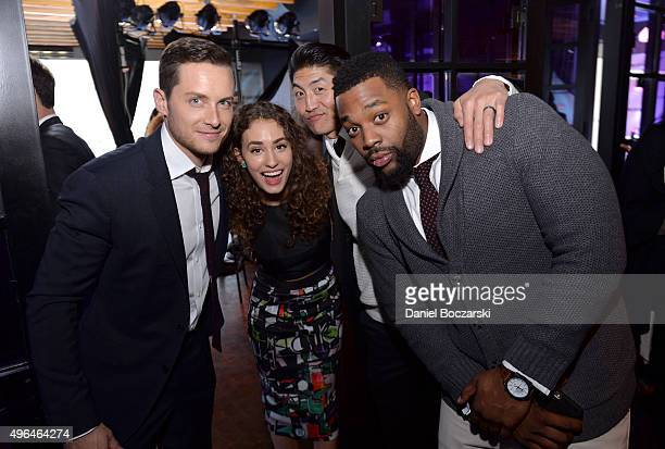Actors Jesse Lee Soffer Rachel DiPillo Brian Tee and Laroyce Hawkins attend a premiere party for NBC's 'Chicago Fire' 'Chicago PD' and 'Chicago Med'...