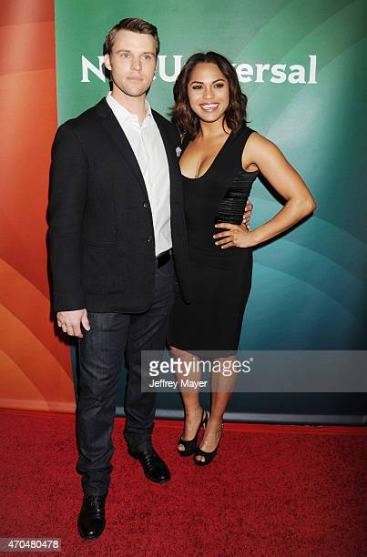 Actors Jesse Spencer and Monica Raymund attend the 2015 NBCUniversal Summer Press Day held at the The Langham Huntington Hotel and Spa on April 02...