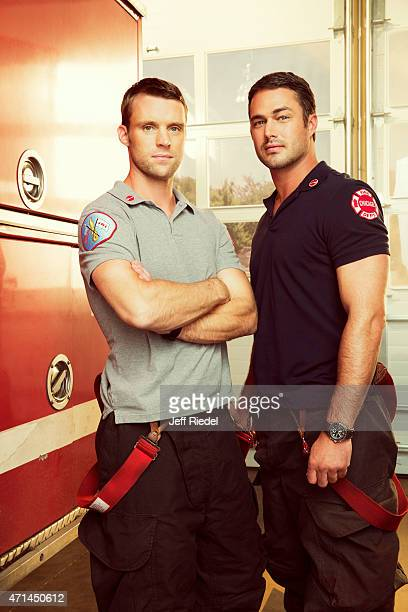 Actors Jesse Spencer and Taylor Kinney are photographed for TV Guide Magazine on October 4 2014 in Chicago Illinois