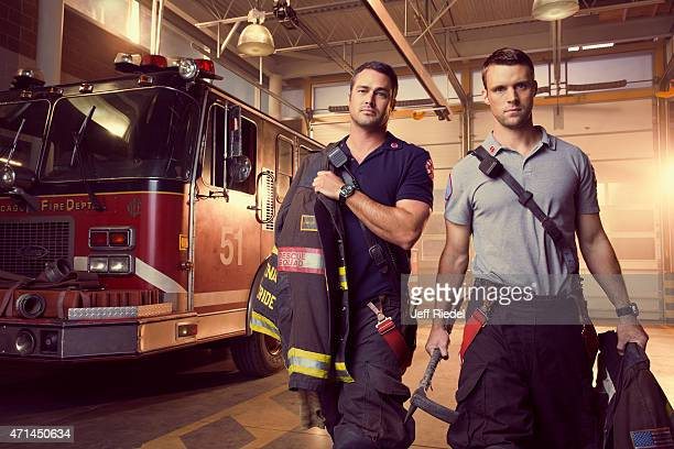 Actors Jesse Spencer and Taylor Kinney are photographed for TV Guide Magazine on October 4 2014 in Chicago Illinois PUBLISHED IMAGE
