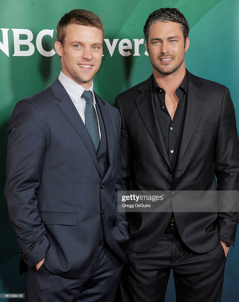 Actors <a gi-track='captionPersonalityLinkClicked' href=/galleries/search?phrase=Jesse+Spencer&family=editorial&specificpeople=630230 ng-click='$event.stopPropagation()'>Jesse Spencer</a> and <a gi-track='captionPersonalityLinkClicked' href=/galleries/search?phrase=Taylor+Kinney&family=editorial&specificpeople=747018 ng-click='$event.stopPropagation()'>Taylor Kinney</a> arrive at the 2013 NBC Summer Press Day at The Langham Huntington Hotel and Spa on April 22, 2013 in Pasadena, California.
