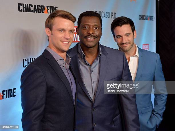 Actors Jesse Spencer Eamonn Walker and Colin Donnell attend a premiere party for NBC's 'Chicago Fire' 'Chicago PD' and 'Chicago Med' at STK Chicago...