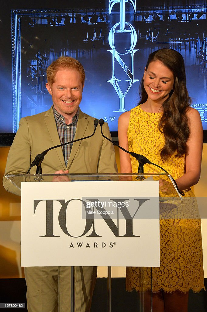 Actors <a gi-track='captionPersonalityLinkClicked' href=/galleries/search?phrase=Jesse+Tyler+Ferguson&family=editorial&specificpeople=633114 ng-click='$event.stopPropagation()'>Jesse Tyler Ferguson</a> and <a gi-track='captionPersonalityLinkClicked' href=/galleries/search?phrase=Sutton+Foster&family=editorial&specificpeople=220522 ng-click='$event.stopPropagation()'>Sutton Foster</a> during the 2013 Tony Awards Nominations Ceremony at The New York Public Library for Performing Arts on April 30, 2013 in New York City.