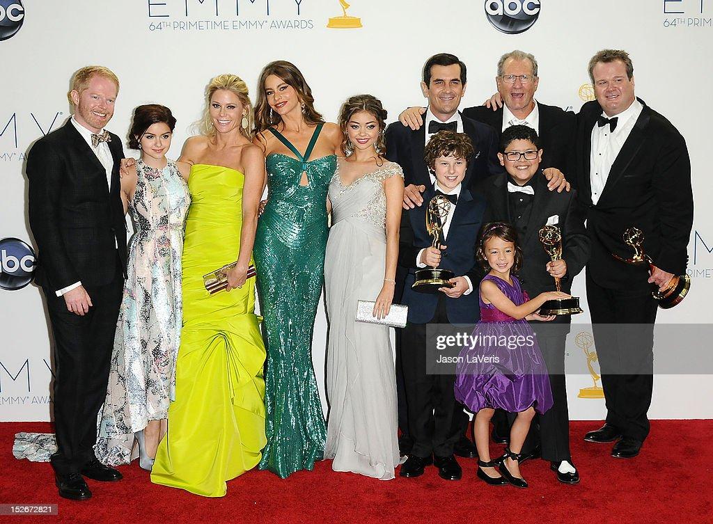 Actors Jesse Tyler Ferguson Ariel Winter Julie Bowen Sofia Vergara Sarah Hyland Ty Burrell Nolan Gould Ed O'Neill Rico Rodridgez and Eric Stonestreet...