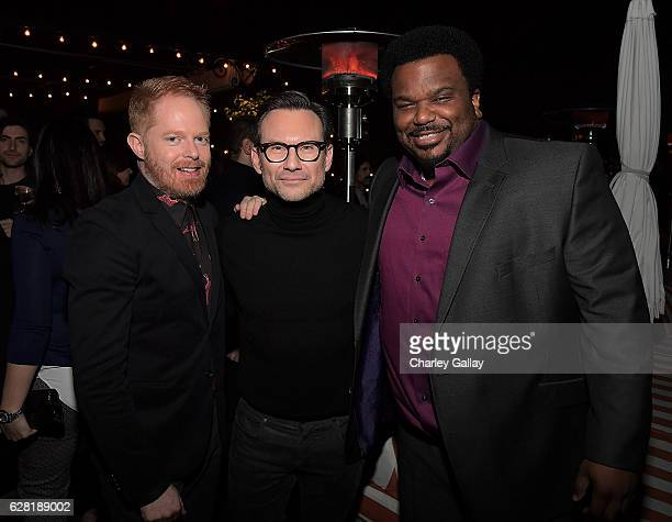 Actors Jesse Tyler Ferguson Christian Slater and Craig Robinson attend GQ and AG Dinner with Christian Slater at Petit Ermitage Hotel on December 6...
