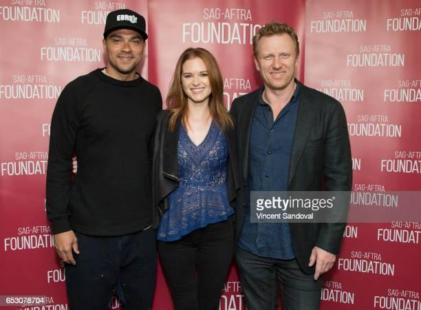 Actors Jesse Williams Sarah Drew and Kevin McKidd attend SAGAFTRA Foundation's Conversations with 'Grey's Anatomy' at SAGAFTRA Foundation Screening...