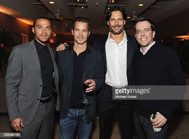 Actors Jesse Williams Timothy Olyphant Joe Manganiello and Ed Helms attend the Audi and GQ Men Of The Year Dinner for Timothy Olyphant at Sunset...