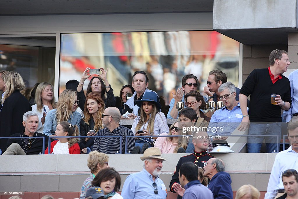 tennis us open new york pictures getty images actors jessica alba amanda seyfried and justin long watch rafael nadal spain celebrates