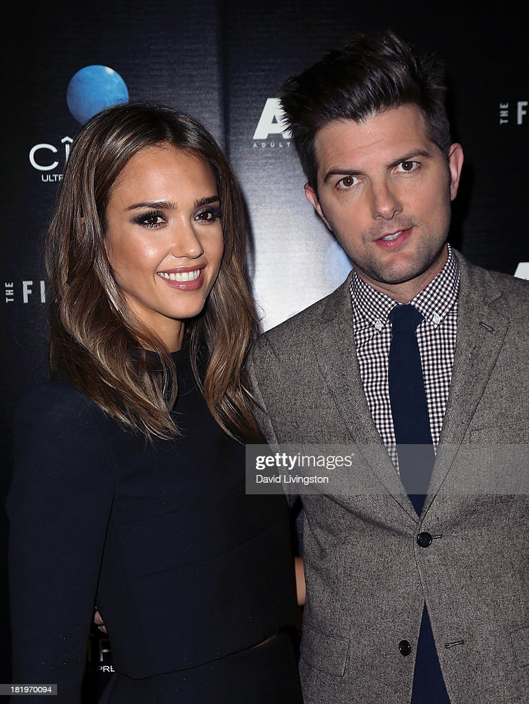 Actors <a gi-track='captionPersonalityLinkClicked' href=/galleries/search?phrase=Jessica+Alba&family=editorial&specificpeople=201811 ng-click='$event.stopPropagation()'>Jessica Alba</a> (L) and Adam Scott attend the premiere of the Film Arcade's 'A.C.O.D.' at the Landmark Theater on September 26, 2013 in Los Angeles, California.