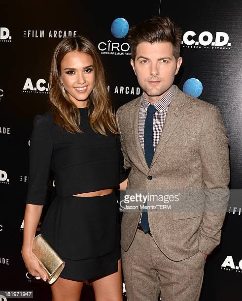 Actors Jessica Alba and Adam Scott attend the premiere of the Film Arcade's 'ACOD' at the Landmark Theater on September 26 2013 in Los Angeles...