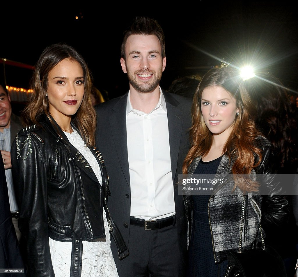Actors Jessica Alba Chris Evans and Anna Kendrick attend Hollywood Stands Up To Cancer Event with contributors American Cancer Society and Bristol...
