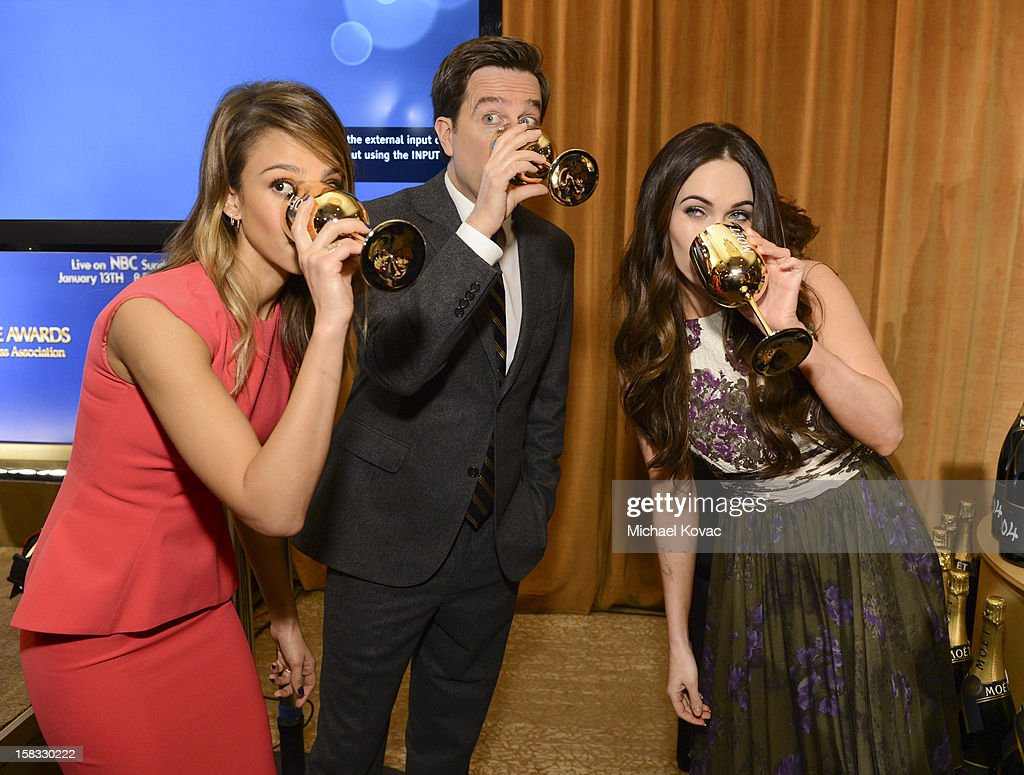 Actors Jessica Alba, Ed Helms and Megan Fox toast the 70th Annual Golden Globe Nominations with Moet & Chandon at the The Beverly Hilton on December 13, 2012 in Los Angeles, California.