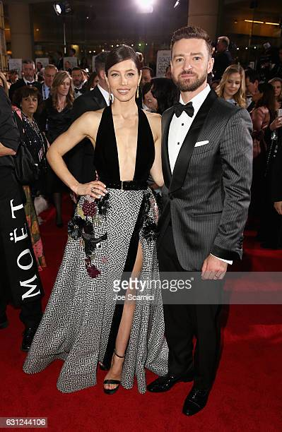 Actors Jessica Biel and Justin Timberlake attend the 74th Annual Golden Globe Awards at The Beverly Hilton Hotel on January 8 2017 in Beverly Hills...