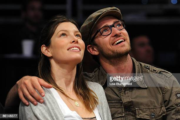 Actors Jessica Biel and Justin Timberlake smile from their courtside seats during the Los Angeles Lakers and the Utah Jazz Game Two of the Western...