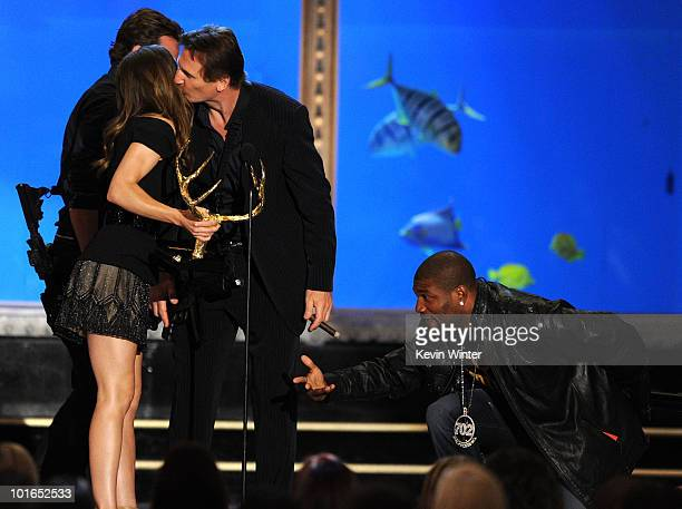 Actors Jessica Biel Bradley Cooper Liam Neeson and Quinton Jackson onstage during Spike TV's 4th Annual 'Guys Choice Awards' held at Sony Studios on...