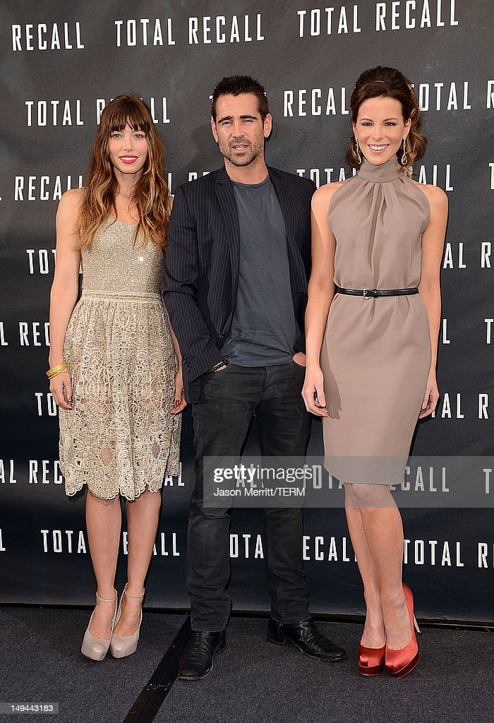 Actors <a gi-track='captionPersonalityLinkClicked' href=/galleries/search?phrase=Jessica+Biel&family=editorial&specificpeople=203011 ng-click='$event.stopPropagation()'>Jessica Biel</a>, <a gi-track='captionPersonalityLinkClicked' href=/galleries/search?phrase=Colin+Farrell&family=editorial&specificpeople=202154 ng-click='$event.stopPropagation()'>Colin Farrell</a>, and <a gi-track='captionPersonalityLinkClicked' href=/galleries/search?phrase=Kate+Beckinsale&family=editorial&specificpeople=202911 ng-click='$event.stopPropagation()'>Kate Beckinsale</a> attend the photo call for Columbia Pictures' 'Total Recall' held at the Four Seasons Hotel on July 28, 2012 in Los Angeles, California.