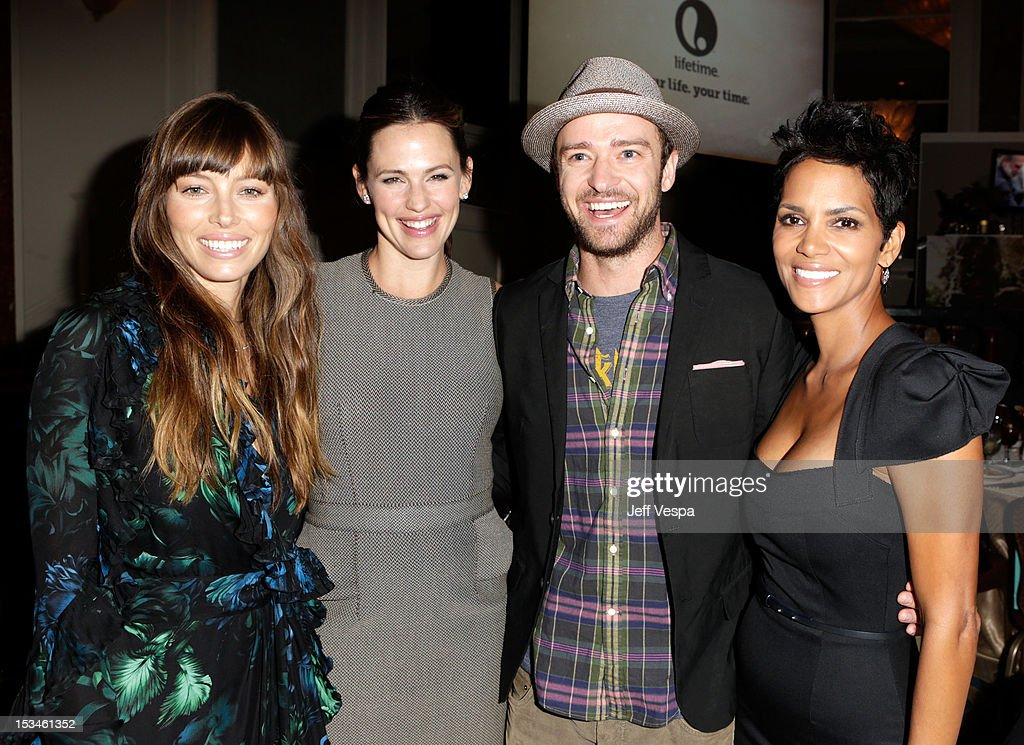 Actors <a gi-track='captionPersonalityLinkClicked' href=/galleries/search?phrase=Jessica+Biel&family=editorial&specificpeople=203011 ng-click='$event.stopPropagation()'>Jessica Biel</a>, <a gi-track='captionPersonalityLinkClicked' href=/galleries/search?phrase=Jennifer+Garner&family=editorial&specificpeople=201813 ng-click='$event.stopPropagation()'>Jennifer Garner</a>, <a gi-track='captionPersonalityLinkClicked' href=/galleries/search?phrase=Justin+Timberlake&family=editorial&specificpeople=157482 ng-click='$event.stopPropagation()'>Justin Timberlake</a> and <a gi-track='captionPersonalityLinkClicked' href=/galleries/search?phrase=Halle+Berry&family=editorial&specificpeople=201726 ng-click='$event.stopPropagation()'>Halle Berry</a> attend Variety's 4th Annual Power of Women Event Presented by Lifetime at the Beverly Wilshire Four Seasons Hotel on October 5, 2012 in Beverly Hills, California.