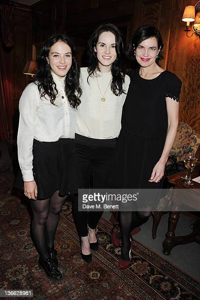 Actors Jessica Brown Findlay Michelle Dockery and Elizabeth McGovern attend a special screening of 'My Week With Marilyn' hosted by Colin Firth at...