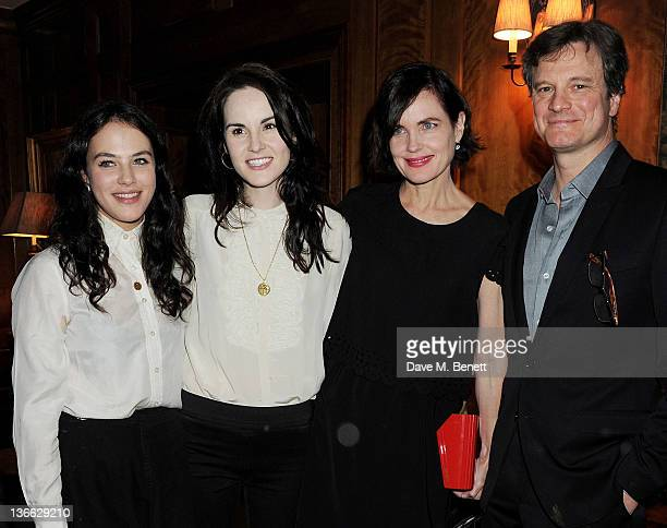 Actors Jessica Brown Findlay Michelle Dockery Elizabeth McGovern and Colin Firth attend a special screening of 'My Week With Marilyn' hosted by Colin...
