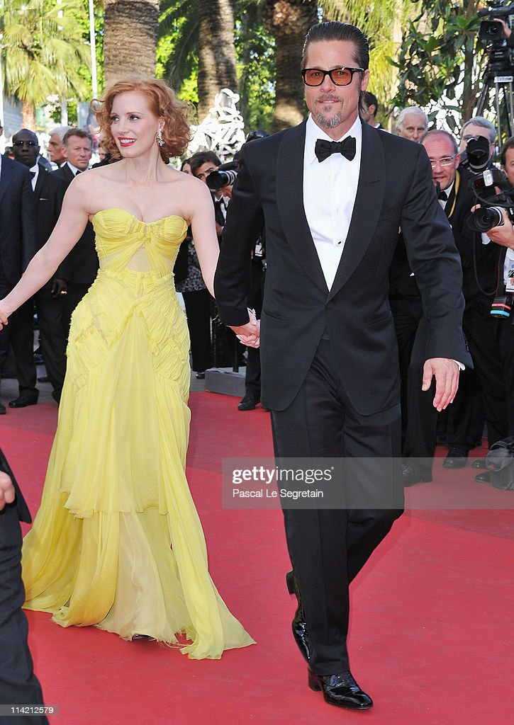 Actors Jessica Chastain and Brad Pitt attend 'The Tree Of Life' premiere during the 64th Annual Cannes Film Festival at Palais des Festivals on May...