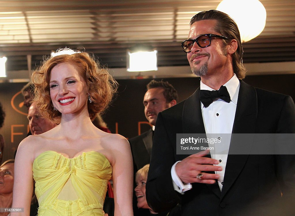 Actors Jessica Chastain and Brad Pitt depart 'The Tree Of Life' Premiere during the 64th Annual Cannes Film Festival at Palais des Festivals on May 16, 2011 in Cannes, France.