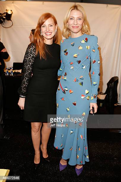 Actors Jessica Chastain and Cate Blanchett attend the 2015 Film Independent Spirit Awards at Santa Monica Beach on February 21 2015 in Santa Monica...