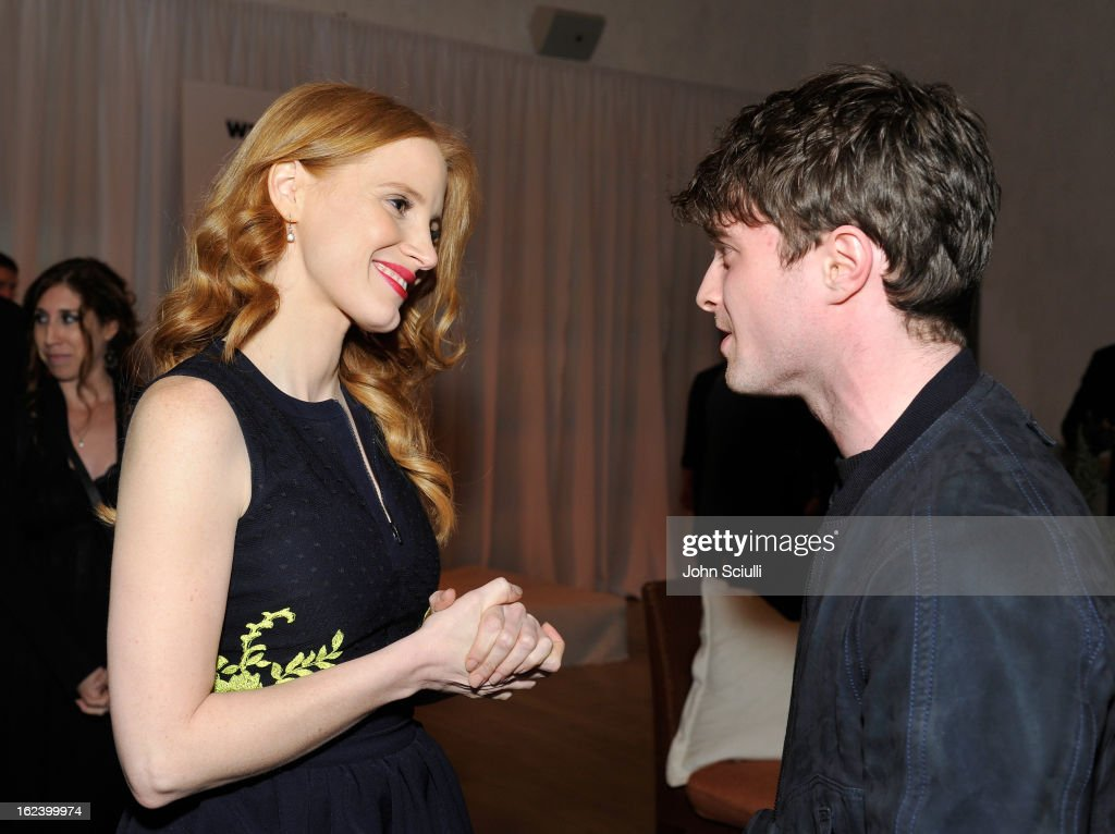 Actors <a gi-track='captionPersonalityLinkClicked' href=/galleries/search?phrase=Jessica+Chastain&family=editorial&specificpeople=653192 ng-click='$event.stopPropagation()'>Jessica Chastain</a> and <a gi-track='captionPersonalityLinkClicked' href=/galleries/search?phrase=Daniel+Radcliffe&family=editorial&specificpeople=204144 ng-click='$event.stopPropagation()'>Daniel Radcliffe</a> attend the Women In Film's 6th Annual Pre-Oscar Party hosted by Perrier Jouet, MAC Cosmetics and MaxMara at Fig & Olive on February 22, 2013 in Los Angeles, California.