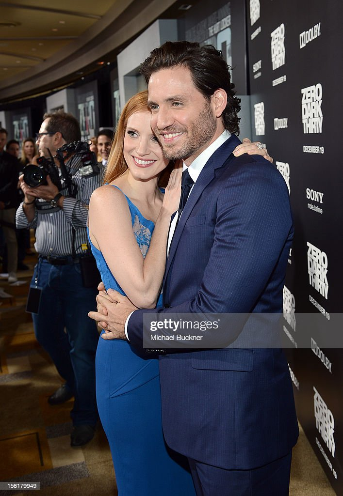 Actors <a gi-track='captionPersonalityLinkClicked' href=/galleries/search?phrase=Jessica+Chastain&family=editorial&specificpeople=653192 ng-click='$event.stopPropagation()'>Jessica Chastain</a> and Edgar Ramirez arrive at the Los Angeles premiere of Columbia Pictures' 'Zero Dark Thirty' at Dolby Theatre on December 10, 2012 in Hollywood, California.