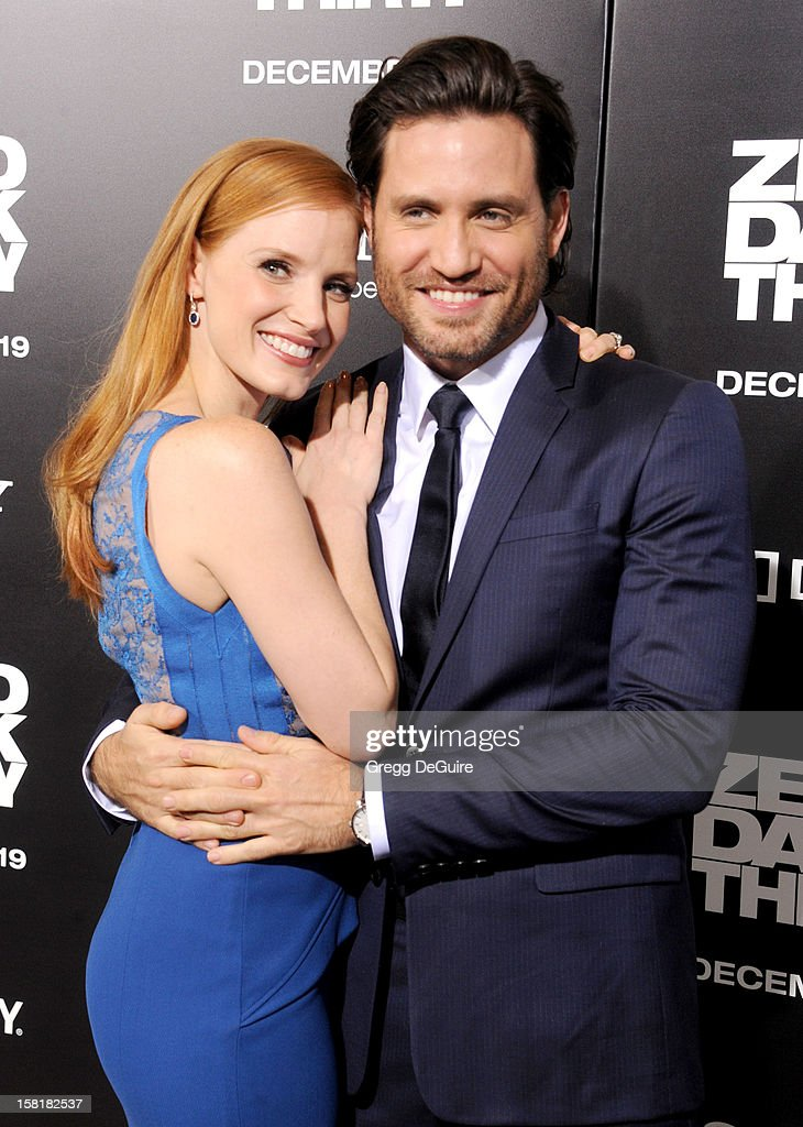 Actors Jessica Chastain and Edgar Ramirez arrive at the Los Angeles premiere of 'Zero Dark Thirty' at the Dolby Theatre on December 10, 2012 in Hollywood, California.