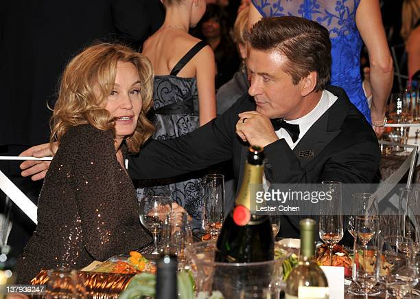 Actors Jessica Lange and Alec Baldwin attends The 18th Annual Screen Actors Guild Awards broadcast on TNT/TBS at The Shrine Auditorium on January 29...