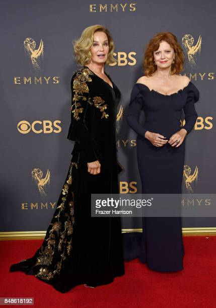 Actors Jessica Lange and Susan Sarandon attend the 69th Annual Primetime Emmy Awards at Microsoft Theater on September 17 2017 in Los Angeles...