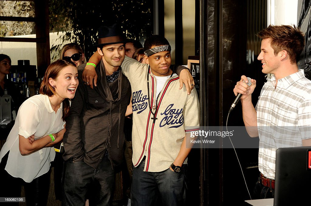 Actors Jessica Stroup, Michael Steger, Tristan Wilds and Matt Lanter appear at the CW Network's '90210' Season 5 Wrap Party on March 3, 2013 in Los Angeles, California.