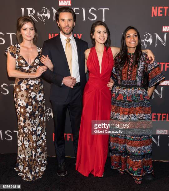 Actors Jessica Stroup Tom Pelphrey Jessica Henwick and Rosario Dawson attend Marvel's 'Iron Fist' New York Screening at AMC Empire 25 on March 15...