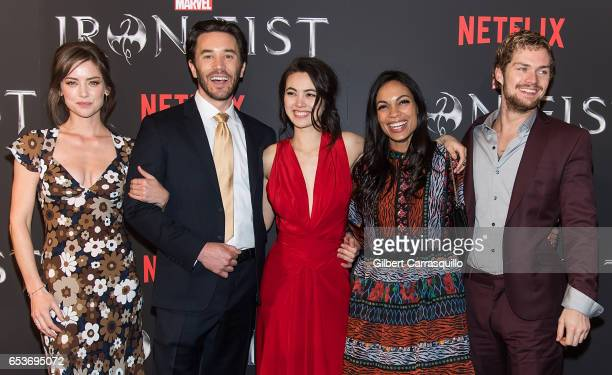 Actors Jessica Stroup Tom Pelphrey Jessica Henwick Rosario Dawson and Finn Jones attend Marvel's 'Iron Fist' New York Screening at AMC Empire 25 on...