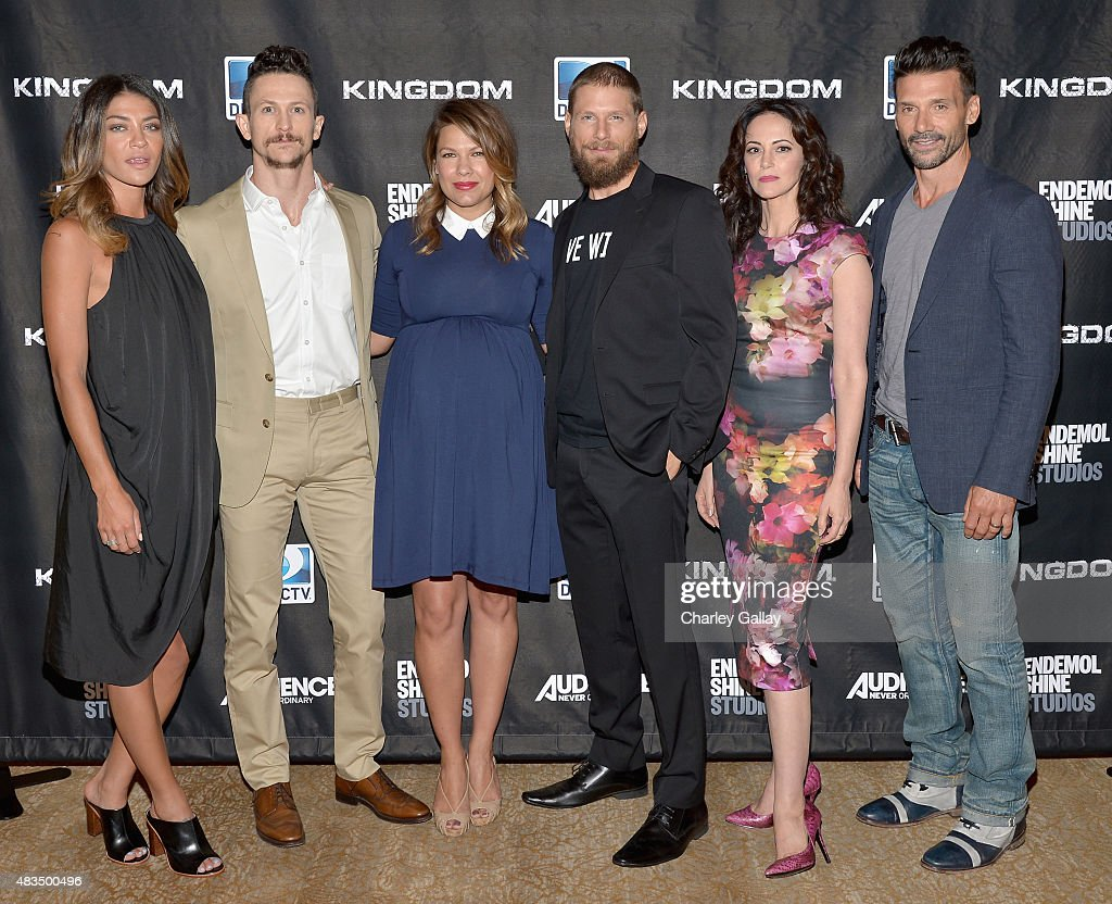 Actors Jessica Szohr Jonathan Tucker Kiele Sanchez Matt Lauria Joanna Going and Frank Grillo attend the DIRECTV's presentation of KINGDOM at the 2015...