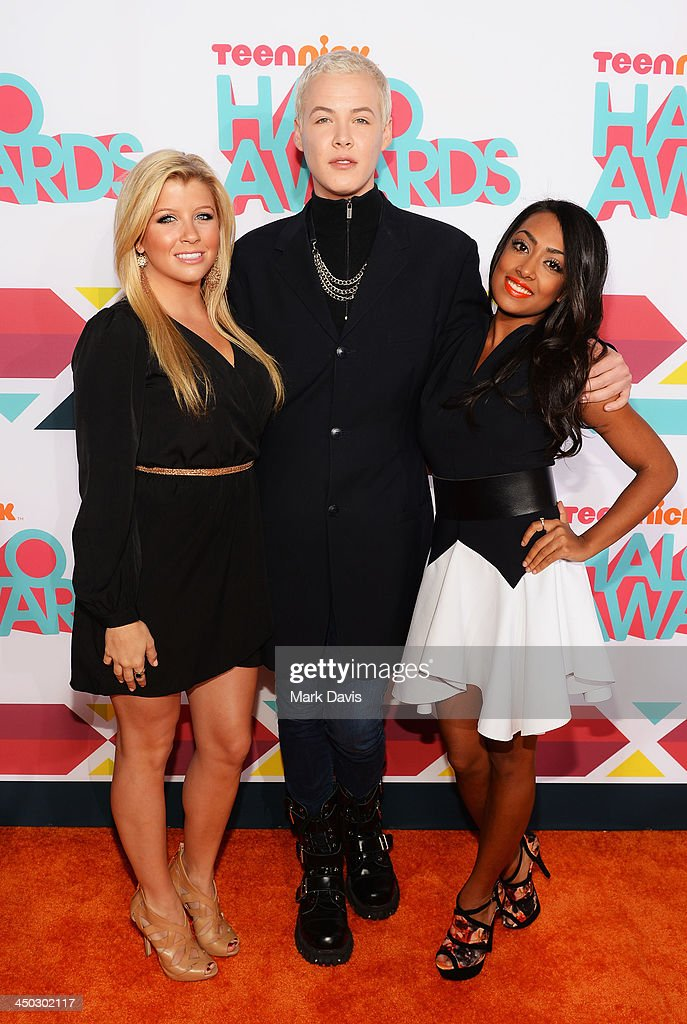 Actors Jessica Tyler, Lyle Lettau and <a gi-track='captionPersonalityLinkClicked' href=/galleries/search?phrase=Melinda+Shankar&family=editorial&specificpeople=6201790 ng-click='$event.stopPropagation()'>Melinda Shankar</a> arrive at the 5th Annual TeenNick HALO Awards at Hollywood Palladium on November 17, 2013 in Hollywood, California.