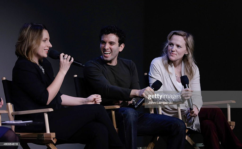 Actors Jessie Mueller Jarrod Spector and Anika Larsen speak at the Apple Store Soho Presents Meet the Cast 'Beautiful The Carole King Musical' at...
