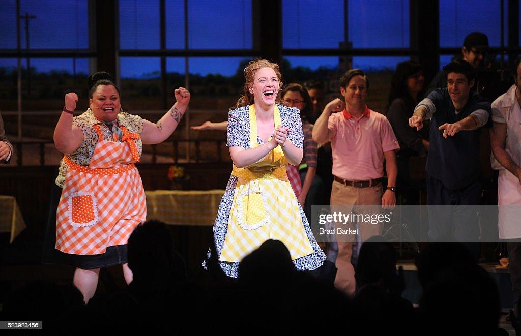 Actors Jessie Mueller Keala Settle Kimiko Glenn attends 'Waitress' Broadway opening night curtain call at The Brooks Atkinson Theatre on April 24...