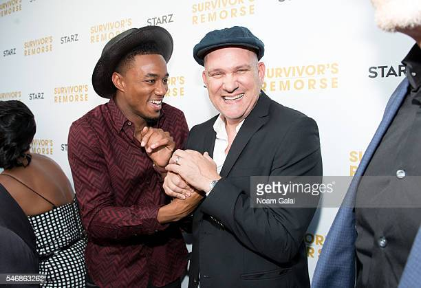 Actors Jessie T Usher and Mike O'Malley attend 'Survivor's Remorse' New York screening at Roxy Hotel on July 12 2016 in New York City