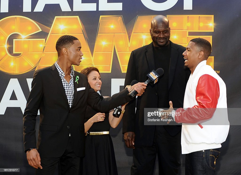 Actors Jessie Usher and Aimee Carrero, host Shaquille O'Neal and co-host Nick Cannon attend the Third Annual Hall of Game Awards hosted by Cartoon Network at Barker Hangar on February 9, 2013 in Santa Monica, California. 23270_002_SK_1146.JPG