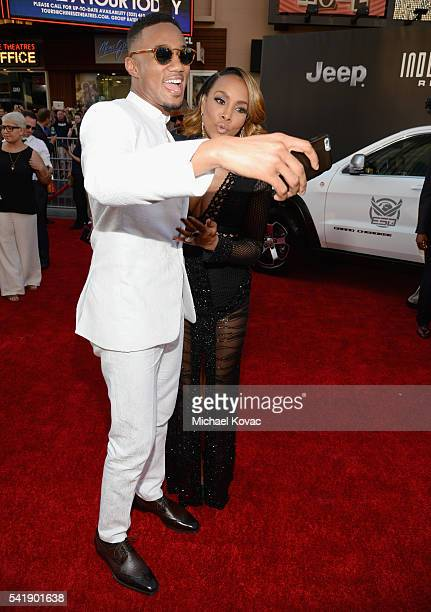 Actors Jessie Usher and Vivica A Fox attend the 'Independence Day Resurgence' premiere sponsored by Jeep at TCL Chinese Theatre on June 20 2016 in...