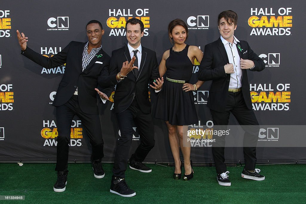Actors Jessie Usher, <a gi-track='captionPersonalityLinkClicked' href=/galleries/search?phrase=Gaelan+Connell&family=editorial&specificpeople=5020784 ng-click='$event.stopPropagation()'>Gaelan Connell</a>, Aimee Carrero and Connor Del Rio arrives at the 3rd Annual Cartoon Network's 'Hall Of Game' Awards held at Barker Hangar on February 9, 2013 in Santa Monica, California.