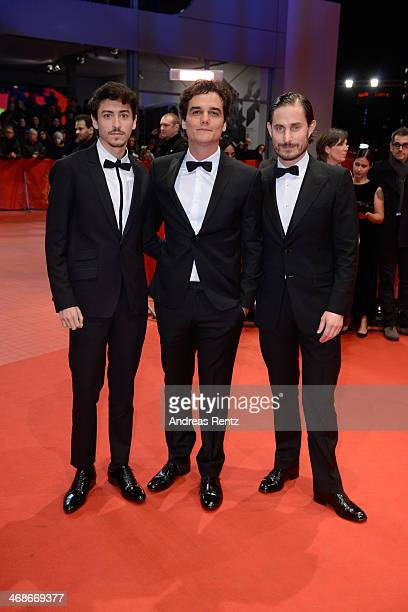 Actors Jesuita Barbosa Wagner Moura and Clemens Schick attend the 'Praia do futuro' premiere during 64th Berlinale International Film Festival at...