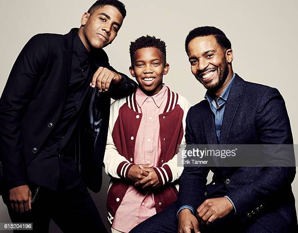 Actors Jharrel Jerome Jaden Piner and Andre Holland pose for a portrait during the 54th New York Film Festival at Lincoln Center on October 2 2016 in...