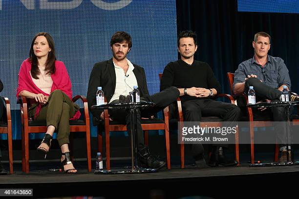 Actors Jill Flint Eoin Macken Freddy Rodriguez and Brendan Fehr speak onstage during the 'The Night Shift' panel discussion at the NBC/Universal...